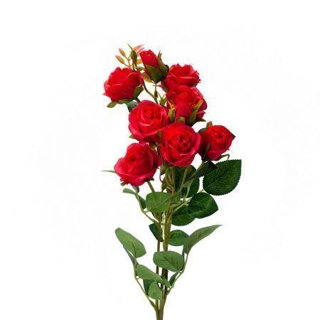 401/0022-2L Роза ветка искусственная h-73см красная (7г+2б)