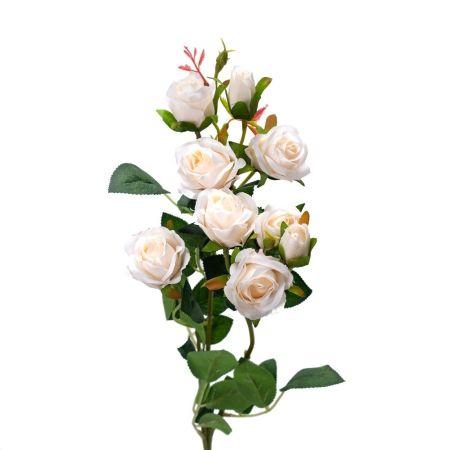 401/0022-4L Роза ветка искусственная h-73см кремовая (7г+2б)