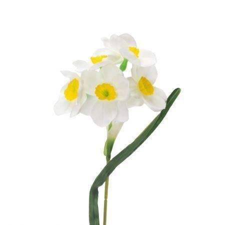 401/0024-23L Нарцисс искусственный h-45см белый (1г)