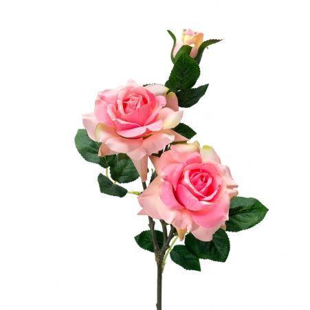 401/0046-1L Роза искусственная h-77см розовая (2г+1б)