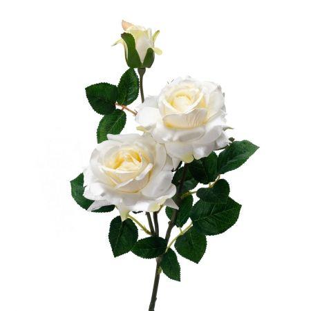 401/0046-23L Роза искусственная h-77см белая (2г+1б)
