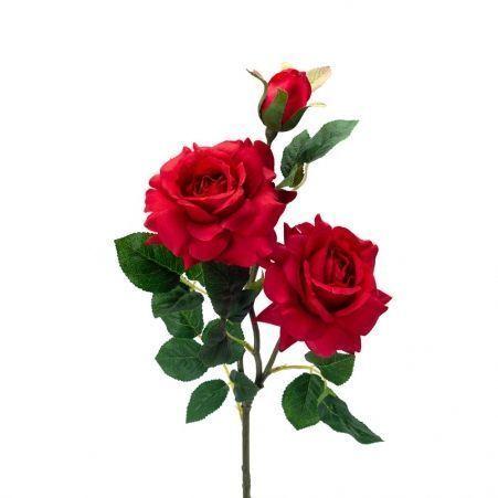 401/0046-2L Роза искусственная h-77см красная (2г+1б)