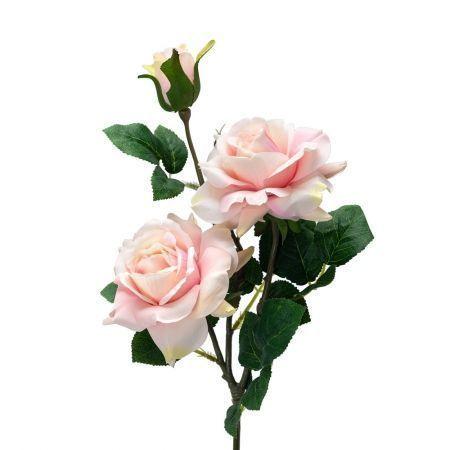 401/0046-5L Роза искусственная h-77см светло-розовая (2г+1б)