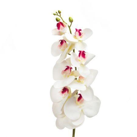 401/0187-23В Орхидея искусственная латекс h 95см белая (9г.)