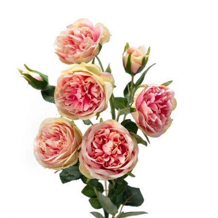 401/0213В Роза искусственная  h 76см розовая (5г.1б.)