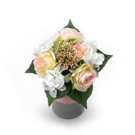 402/1432С Букет розы+гортензия искусственный h-30см (9 голов)