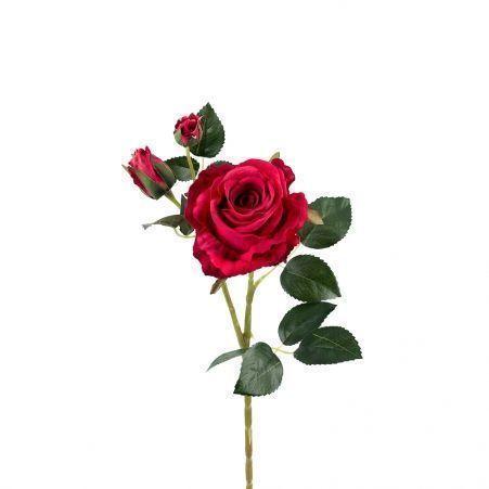 401/0020-15L Роза велюр искусственная h-78см малиновая (1г+2б)