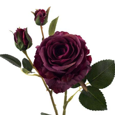 401/0020-28L Роза велюр искусственная h-78см пурпурная (1г+2б)