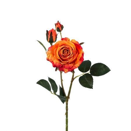 401/0020-18L Роза велюр искусственная h-78см оранжевая (1г+2б)