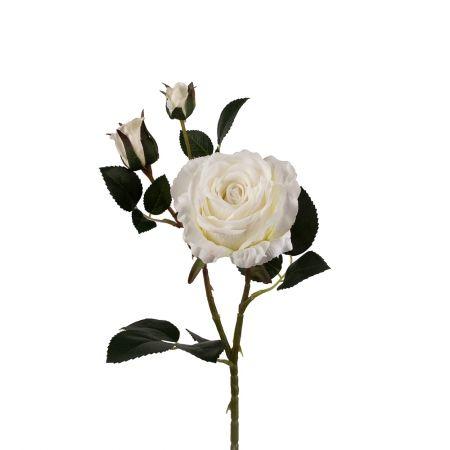 401/0020-23L Роза велюр искусственная h-78см белая (1г+2б)