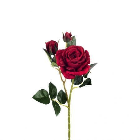 401/0020-2L Роза велюр искусственная h-78 красная (1г+2б)