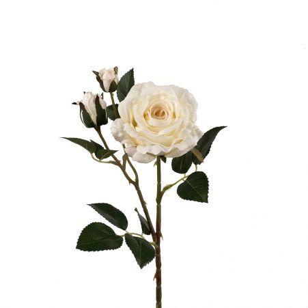 401/0020-4L Роза велюр искусственная h-78см кремовая (1г+2б)