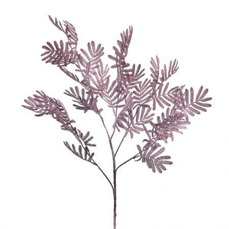 7143/0016-35/1-3 Ветка лист мимозы искусственная, пепельно-розовая, h 75 см (40+35)