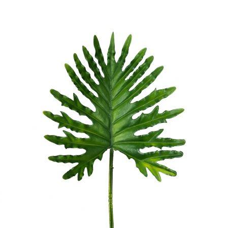 7143/0030-11/9 Лист Филодендрона Солло искусственный, зеленый, h 74 см (34+40)