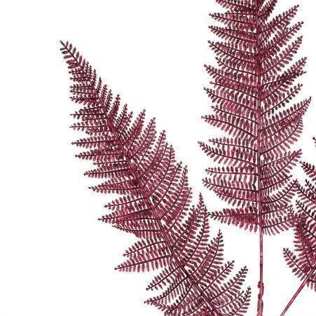 7143/0030-14/11(Promo) Ветка Даваллии искусственная, пушистая, бордовая,h 65 см (45+20)