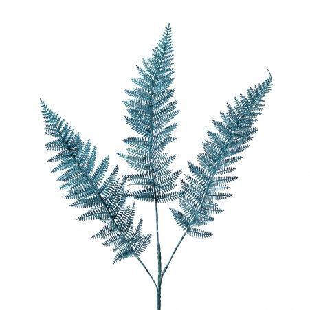 7143/0030-14/21 Ветка Даваллии искусственная, пушистая, синяя, h 65 см (45+20)