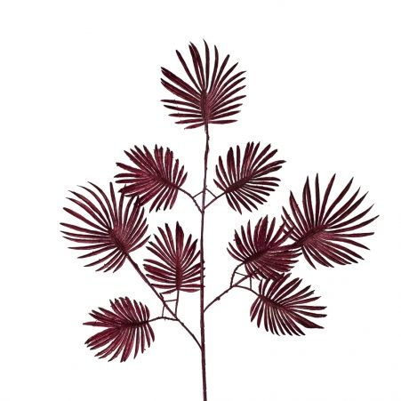 """7143/0030-15/11 Ветка """"Веерной пальмы"""" искусственная, мелкая, бордовая, h 70 см (40+30)"""