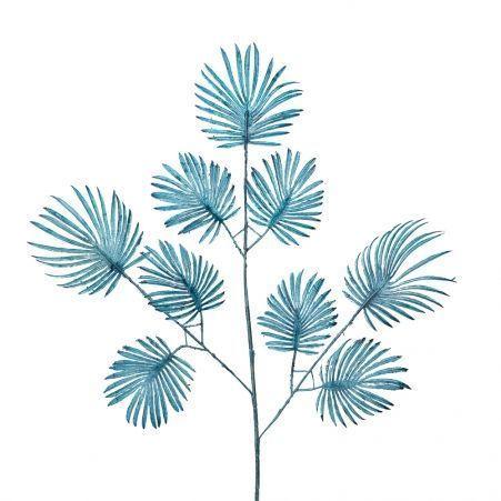 7143/0030-15/21 Ветка Веерной пальмы искусственная, синяя,мелкая h 70 см (40+30)