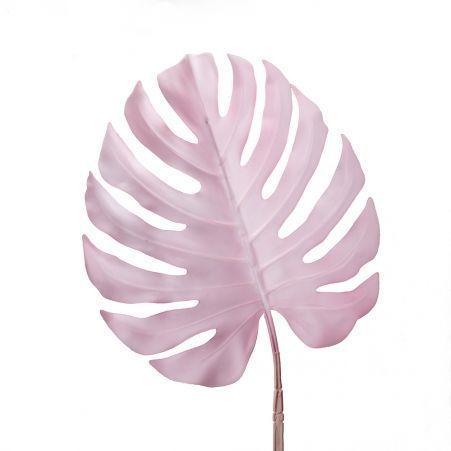 7143/0030-6/1 Лист Монстеры искусственный, розовый, большой h 90 см (40+50)