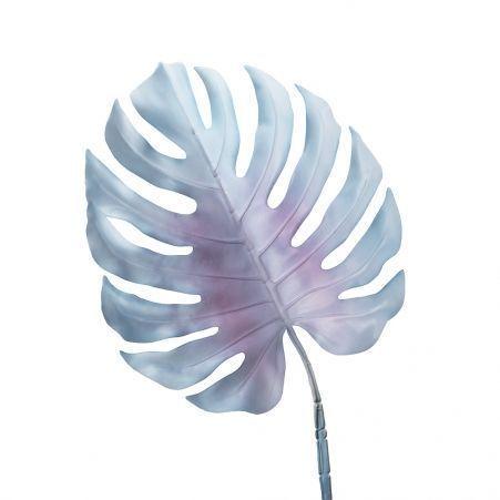 7143/0030-6/10 Лист Монстеры искусственный, голубой, большой h 90 см (40+50)