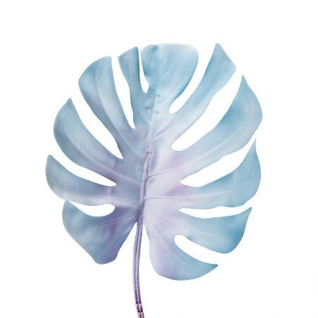 7143/0030-7/10 Лист Монстеры, искусственный, голубой, маленький h 75 см (32+43)