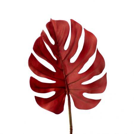7143/0030-7/11 Лист Монстеры искусственный, маленький, бордовый h 75 см (32+43)