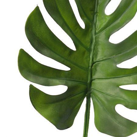 7143/0030-7/9 Лист Монстеры искусственный, малый, зеленый, h 75 см (32+43)