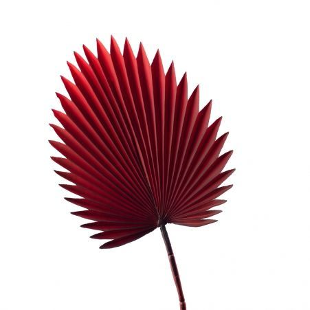 7143/0030-8/11 Лист Веерной пальмы, искуственный, бордовый, h 88 см (35+53)