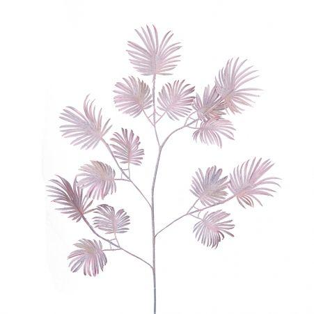 7143/0047-6/1 Ветка Веерной пальмы искусственная, розовая, мелкая, h 85 см (55+30)