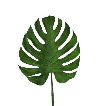 7143/0030-6/9(Promo) Лист Монстеры искусственный, зеленый, большой h 90 см (40+50)