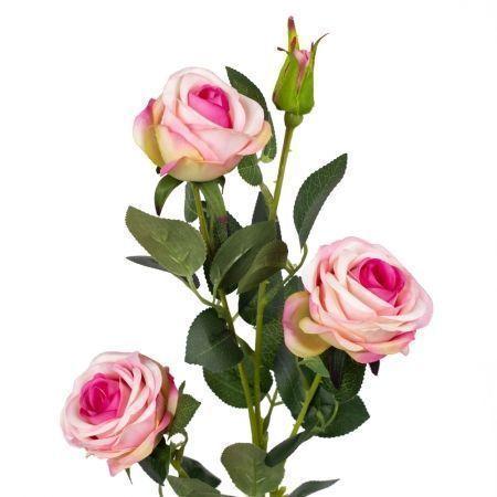 401/0029/1-1В Роза ветка искусственная h 65см розовая (3г.1б.)