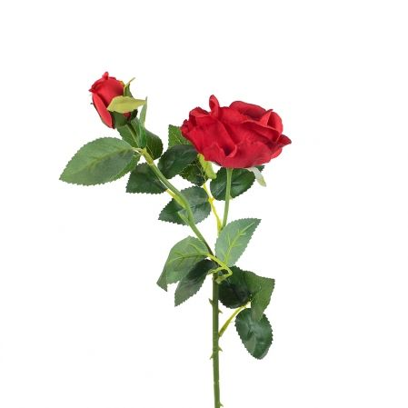 7141/9182-1/2 Роза ветка h70см(голова+1бутон)(красный)