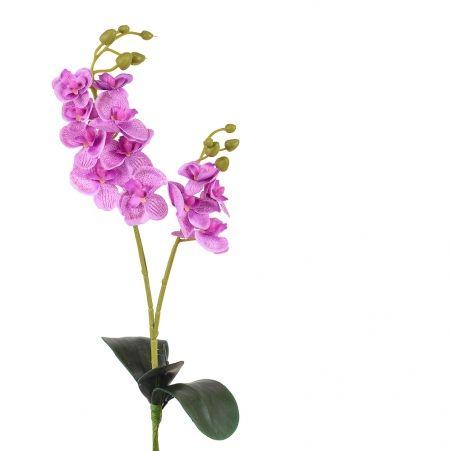 7141/0452/8 Орхидея с листом (сиреневая) 40см