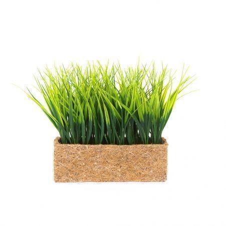 ТД0511 Трава короткая (зеленая) h17см в кокосовом боксе 25*8*8