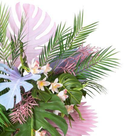"""КМП1 Композиция """"Тропики с орхидеей"""" на металлической подставке h 80см (гот. издел 95*h-200см)"""