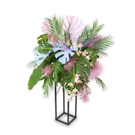 """КМП1(Promo) Композиция """"Тропики с орхидеей"""" h75-80см на металлической подставке h70см"""