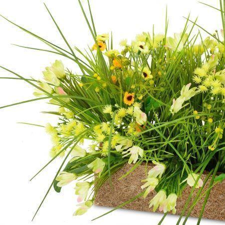 ТД084 Цветы микс в кокосовом боксе (85*45*h-40см) (желтый)