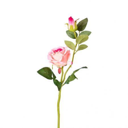 7141/0044-1/1Р Роза искусственная (розовая) h 30см (1г.2б.)
