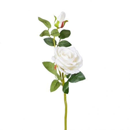 7141/0044-1Р Роза искусственная (белая) h 30см (1г.2б.)