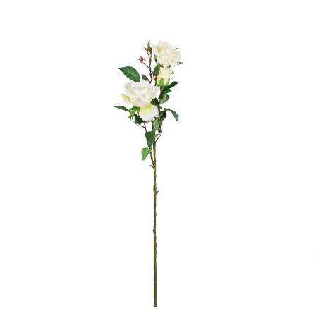 401/0008-23L Роза искусственная бархатная (белая)  (2г.1б.)