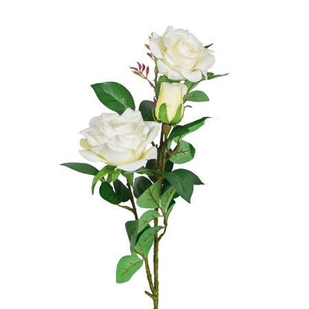 401/0008-23L Роза ветка h80см (белая)(2гол+1бутон)