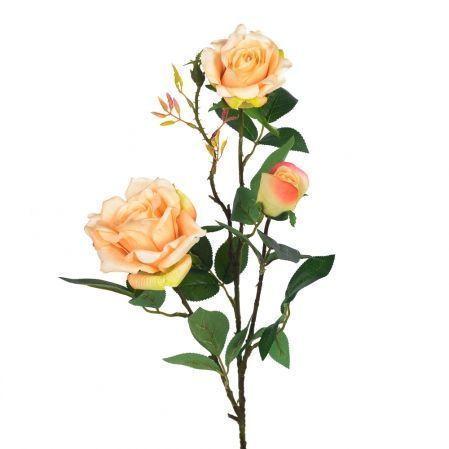 401/0008-13L Роза ветка h80см  (персик)(2гол+1бутон)