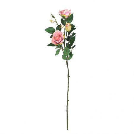 401/0008-5L Роза искусственная бархатная (светло-розовый)  (2г.1б.)