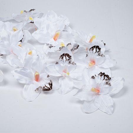 406/0024-23В Голова орхидеи сатиновая d16см,белая (24шт/уп)