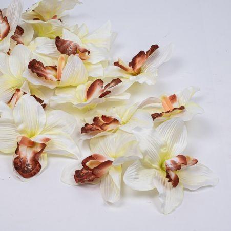 406/0024-4В Голова орхидеи сатиновая d16см,кремов. (24шт/уп)