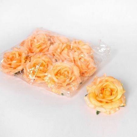406/0241-13В Голова розы сатиновая 10см (12шт/уп)(персик.)