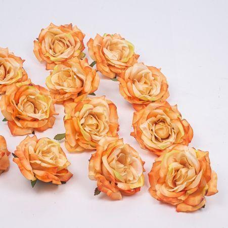 406/0241-18В Голова розы сатиновая 10см (12шт/уп)(оранж.)