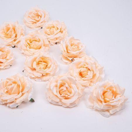 406/0241-4В Голова розы сатиновая 10см (12шт/уп)(крем.)
