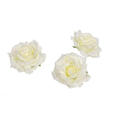 406/0241-4В Голова розы сатиновая 10см (12шт/уп)(кремовая)