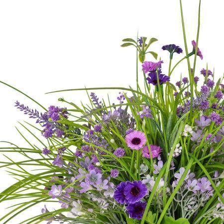 К335 Разнотравье (фиолет) в подвесном кашпо d-13см (65*65*h-35см)